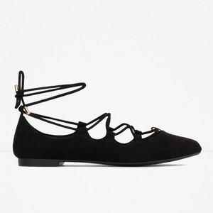 ZARA Lace Up Ballerina Flats Size US10/EU41